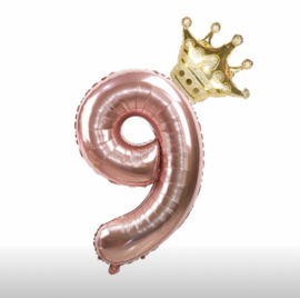 Folie Ballon Kroon + cijfer 9 - goud met rosé goud