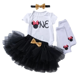 Minnie Mouse zwart + beenwarmers (4-delig)