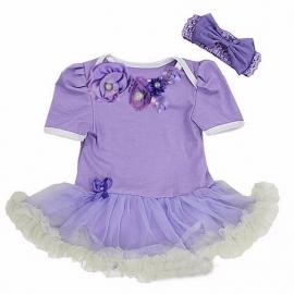 Babyjurk luxe bloemen lavendel + haarband