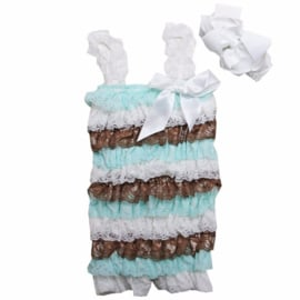 Baby Jumpsuit Wit & Mint & Chocola + haarband