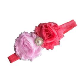 Haarband bloemen ROZE/WATERMELOEN