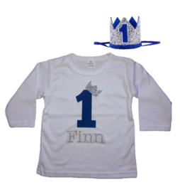 Shirt jongen getal 1 blauw-zilver met naam + kroon