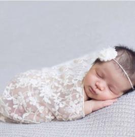 Newborn photoshoot kanten deken + hoofdbandje
