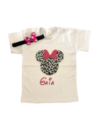 Minnie Mouse shirt luipaard pink + NAAM, (2-delig)