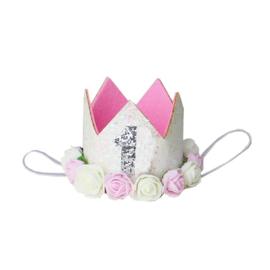 Haarband kroon 1 jaar wit