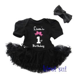 Verjaardagjurk 1st birthday zwart + haarband + NAAM