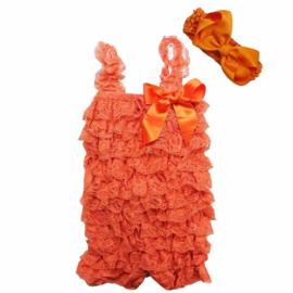 Baby Jumpsuit Oranje + haarband