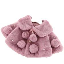 Baby bontjas DUSTY PINK  met parels