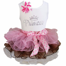 Tutu Satijn set Princess glitter roze/chocolade