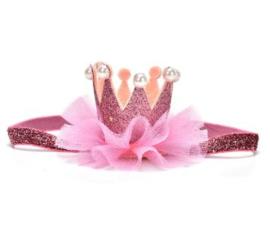 Haarband kroon pink/roze