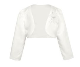 Witte bolero met corsage