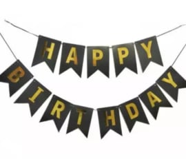 Vlaggenslinger - Happy Birthday - Zwart