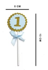 Cake toppers 1 jaar blauw (5 stuks)