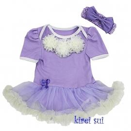 Babyjurk rozetten lavendel + haarband