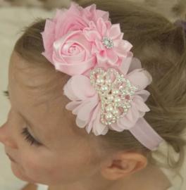 Haarband ROZE met bloemen en pareltjes