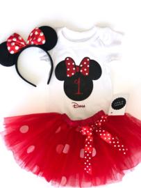 Minnie Mouse rood tutu verjaardagset 1 jaar (3-delig) + NAAM
