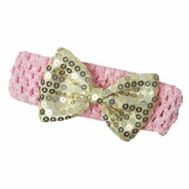 Haarband roze goud strik glitter