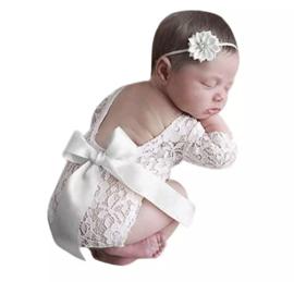 Newborn kanten pakje wit satijn lint + haarband *