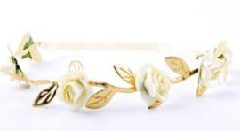 Haarband mini roosjes ivoor/goud