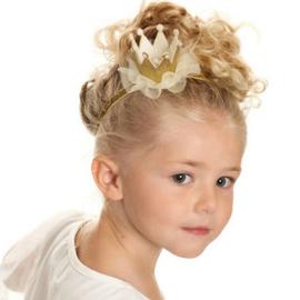 Haarband kroon goud pareltjes