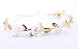 Haarband mini roosjes wit/goud