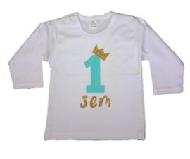 Shirt jongen getal 1 t/m 5 mint-goud met naam
