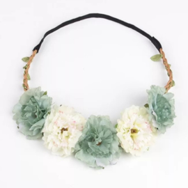 Haarband bloemen turqouise