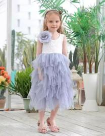 Lange romantisch jurk kant, korte mouw lavendel
