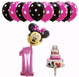 Minnie Mouse ballon set ROZE 1 jaar (13-delig)
