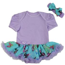 Babyjurk lavendel/aqua vlinders + haarband