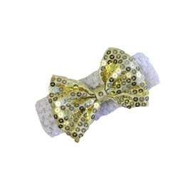 Haarband wit strik goud  glitter