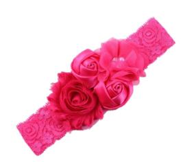 Haarband PINK met rozen en een pareltje