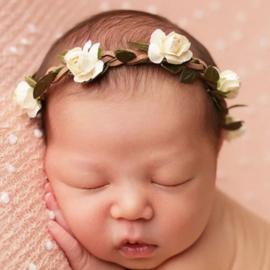 Haarband bloemen ivoor/groen