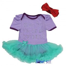 Babyjurk lavendel/aqua 'Born to wear diamonds' + haarband