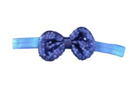 Haarband strik met pailletten, marineblauw