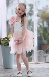 Korte romantisch jurk kant, zonder mouw roze