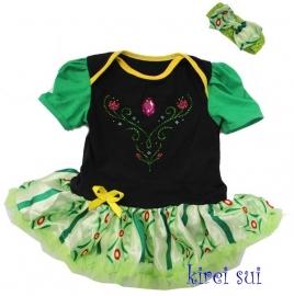 Frozen - prinses Anna jurk groen + haarband