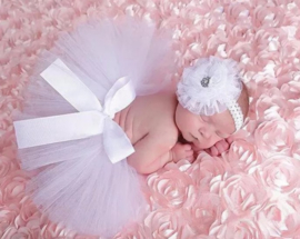 Newborn tutu wit + haarband kant wit
