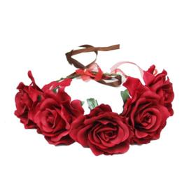 Haarband roosjes rood
