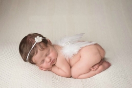 Newborn engelen vleugels wit parel + haarband
