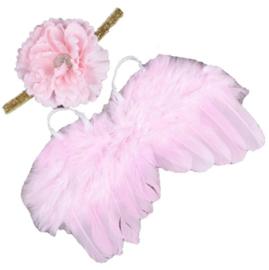Newborn engelen vleugels zacht roze+ haarband bloem