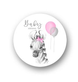 Sluitsticker Baby nieuws roze