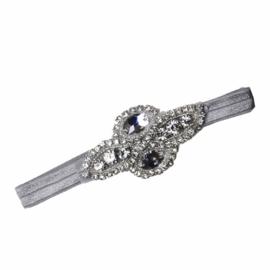 Haarband steentjes zilver