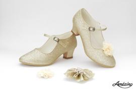 Prinses schoenen CHAMPAGNE GLITTER + 2 gratis bloemclips en 1 haarbloem
