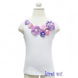 Top lavendel/paars satijnen roosjes