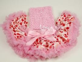 Pettiskirt + gehaakte top Hartjes roze