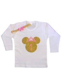 Minnie Mouse shirt roze/goud + GETAL (2-delig)