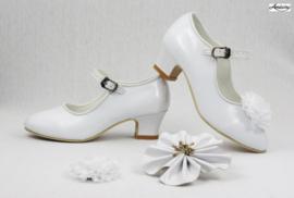 Prinses schoenen WIT GLOSSY + 2 gratis bloemclips en 1 haarbloem