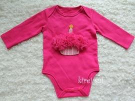 Baby romper pink Cupcake pink lange mouw