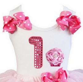 Top 1 jaar glitter roze pink cupcake
